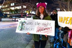 Dec 17, 2019 Mountain View / CA / USA - Protester taking part at the Impeachment Eve Vigil rally held in one of the cities of San