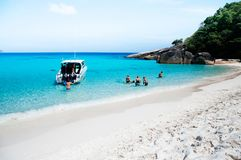 Similan island white sand beach and vibrant turqouise blue Andam stock image