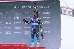 Val d`Isere Men`s Giant Slalom 2018. 08 Dec 2018 Podium presentation Marcel Hirscher of Austria wins Val d`Isere men`s Giant Slalom Audi FIS Alpine Ski World Cup royalty free stock images