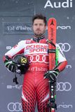 Val d`Isere Men`s Giant Slalom 2018. 08 Dec 2018 Podium presentation Marcel Hirscher of Austria wins Val d`Isere men`s Giant Slalom Audi FIS Alpine Ski World Cup royalty free stock photo