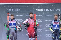 Val d`Isere Men`s Giant Slalom 2018. 08 Dec 2018 Podium presentation Marcel Hirscher of Austria wins Val d`Isere men`s Giant Slalom Audi FIS Alpine Ski World Cup royalty free stock image