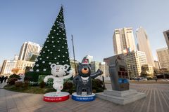 Dec 4,2017 Pyeongchang 2018 Winter Olympics Mascot front of Seou stock photos