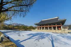 Dec 6,2017 Sonwing at Gyeonghoeru in Gyeongbok Palace, Seoul. Korea Stock Image