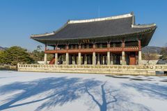 Dec 6,2017 Sonwing at Gyeonghoeru in Gyeongbok Palace, Seoul. Korea Royalty Free Stock Photography