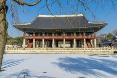Dec 6,2017 Sonwing at Gyeonghoeru in Gyeongbok Palace, Seoul. Korea Stock Photos