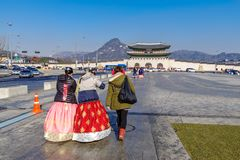 Tourists walking to Gyeongbok Palace,Seoul. Dec 6,2017 Tourists walking to Gyeongbok Palace, Seoul, Korea Stock Image