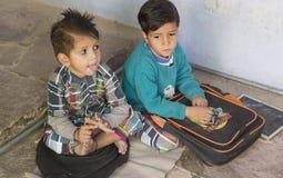 """Dec van Rajasthan, India †"""", 2016: Indische schooljongens in klasse bij lo Royalty-vrije Stock Foto"""