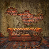 Decadence in the Living Room. Abandoned House invaded by a Giant Lizard Stock Image