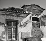 Decadent building in Portugal. A black and white photo of a decadent old house Stock Photo