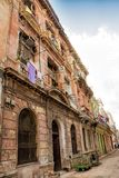 Decadent buildings in the streets of old Havana. A Decadent buildings in the streets of old Havana Royalty Free Stock Photo