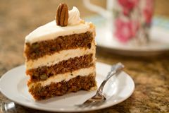 Decadent Carrot Cake. Decadent slice of carrot cake Royalty Free Stock Images