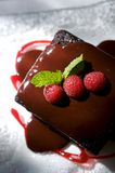 Decadent chocolate cake with raspberries. An image of decadent chocolate cake topped with raspberries Royalty Free Stock Images