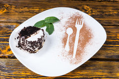 Decadent Chocolate Dessert on Plate with Mint Royalty Free Stock Photo