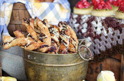 Decadent pastry twists. Decadent delicious pastry puff twists Royalty Free Stock Photography