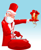 Decadent Santa. With top hat holding present. Vector illustration Royalty Free Stock Photo