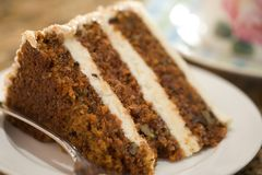 Decadent Slice of Carrot Cake.  Royalty Free Stock Images
