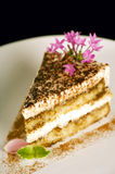 Decadent Tiramisu. Decorative piece of tiramisu on white plate with flowers Stock Photo