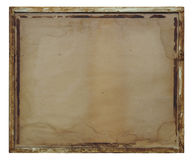 Decadent wooden frame on white background. Vintage ruined picture frame on white background Stock Images