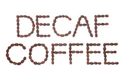 Decaf Coffee Sign. Decaffeinated coffee sign in word and letter form over white background royalty free stock images