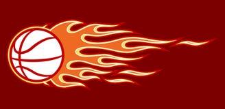 Decal wektorowa ilustracja płonącej koszykówki balowa ikona i płomień ilustracja wektor