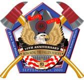 Decalcomania attraversata dell'ascia del Pentagon 911 Fotografie Stock Libere da Diritti