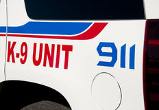 Decals on K-9 unit vehicle Stock Images