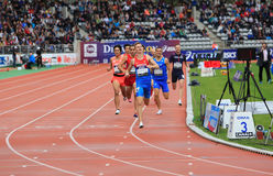 DecaNation International Outdoor Games. Konstantin Tolokonnikov from Russia winning 800 m. race on DecaNation International Outdoor Games on September 13, 2015 Royalty Free Stock Photo