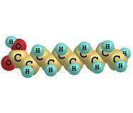 Decanoic (capric) syrlig molekyl som isoleras på vit Arkivfoto