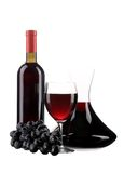 Decanter botle and glass with red wine Royalty Free Stock Photography