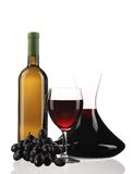 Decanter bottle and glass with red wine. Stock Photography