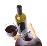 Decanter, bottle and glass with red wine top view Stock Photos