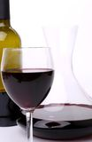 Decanter, bottle and glass of wine close-up Stock Image