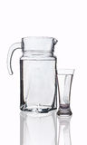 Decanter and glass with clean water Royalty Free Stock Photos