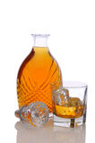 Decanter with Glass of Scotch Stock Photos