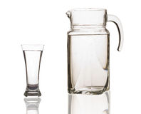 Decanter and glass with water Royalty Free Stock Image