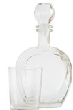 Decanter and glass on white background Royalty Free Stock Images