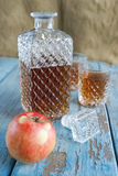 Decanter, glasses and apple Royalty Free Stock Photo