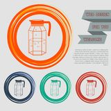 Decanter Icon on the red, blue, green, orange buttons for your website and design with space text. Illustration Royalty Free Stock Photo