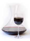 Decanter with red wine. Glass and decanter with red wine Stock Photography