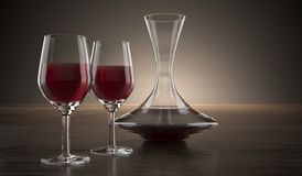 Decanter And Two Glasses Of Wine On Wooden Surface royalty free illustration