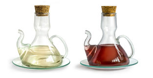 Decanter with vinegar isolated. On the white background stock photo