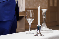 Decanter, wine glass, candle for wine tasting. In the restaurant Royalty Free Stock Photos