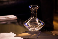 Decanter wine. On the table, broucures Stock Photos