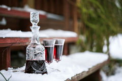 Decanter and wineglasses of red wine Royalty Free Stock Images