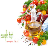 Decanter With Olive Oil, Assorted Of Cherry Tomatoes And Spices Stock Photo