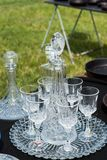 Decanters and wine glasses Royalty Free Stock Photo