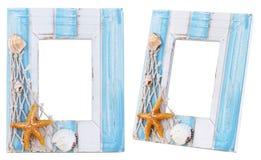 Decarate en bois de cadre avec le style d'océan Photographie stock