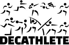 Decathlete icon set Stock Images