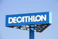 Decathlon. Shot of Decathlon logo. a major French sporting good chain store stock image