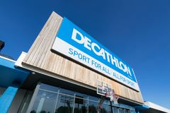 Decathlon sign at branch. Decathlon is a French sporting goods retailer, the largest sporting goods retailer in the world royalty free stock photos